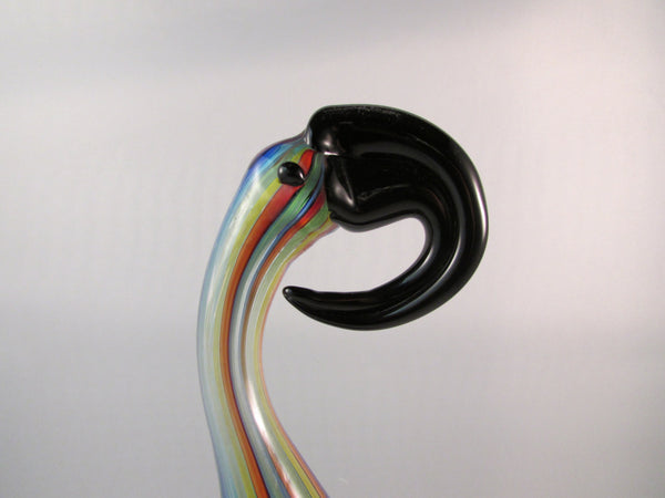 Vintage Murano Art Glass Bird Colorful with Large Beak Rainbow Glass Colors with Black Beak and Black Glass Base Toucan Bird
