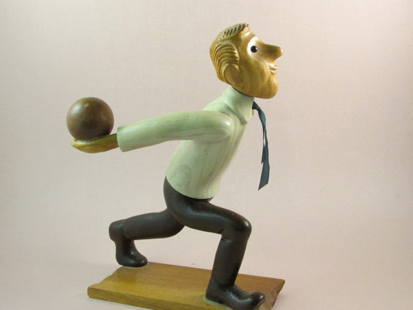 Vintage Romer Wood Bowler Hand Carved Bowler Folk Art Sports Figure Made In Italy