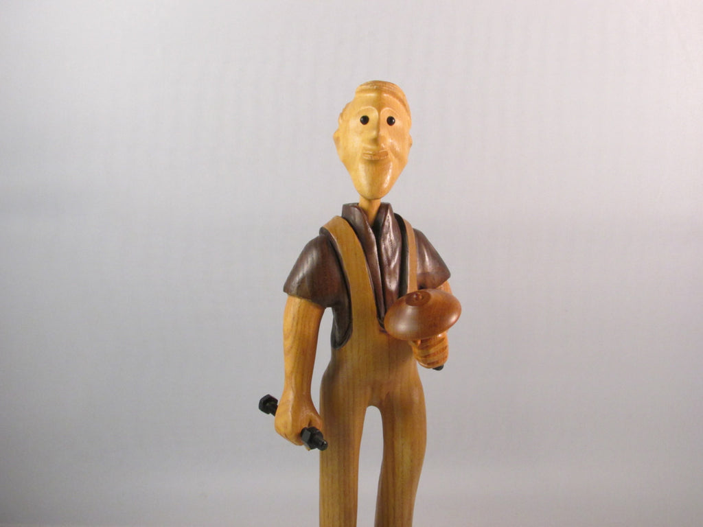 Vintage Hand Carved Wood Figurine by Romer Toy Maker Folk Art Figure Made in Italy