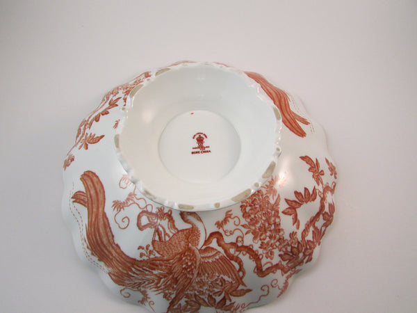 Vintage Royal Crown Derby Red Aves Marquis Bowl 1960 Bone China Pedestal Bowl