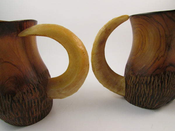 Vintage A Fernandez Spain Ram Horn Stag Handled Wood Pitchers and Wood Drinking Cup Set of Three Hand Carved Wood Pitcher Kreisler Spain