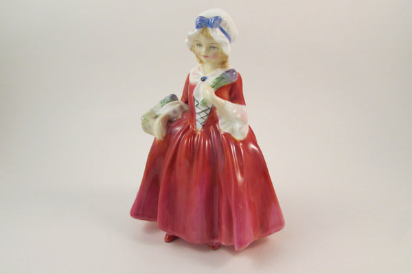 Vintage Royal Doulton Figurine Lavinia Colonial Girl Figurine Bone China Lady Holding Basket of Flowers Hand Painted