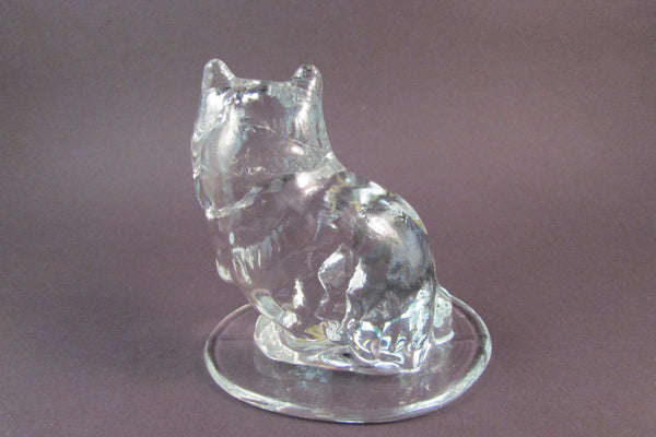 Vintage Viking Glass Cat Pressed Glass Paperweight Clear Glass Cat Great Gift for a Cat Lover