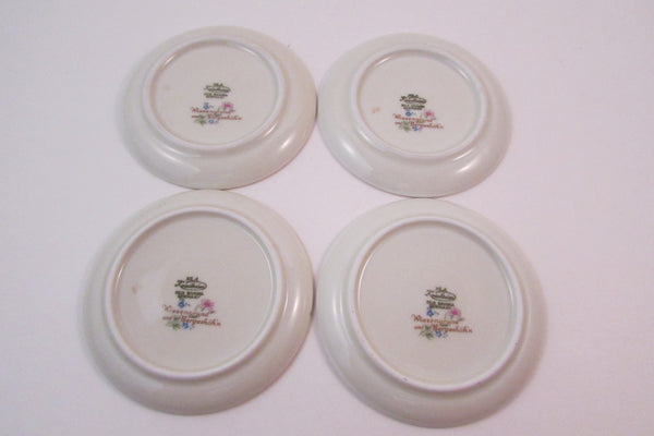 Vintage X & A Krautheim Butter Pat Dish Set of Four Meadow Flowers Pattern Set of Four Trinket Dish Ring Holder of Coaster Set