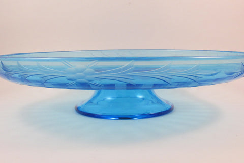 Vintage Blue Glass Cake Plate Pedestal Base Etched Glass Cake Stand Wedding Decor Tea Party Serving