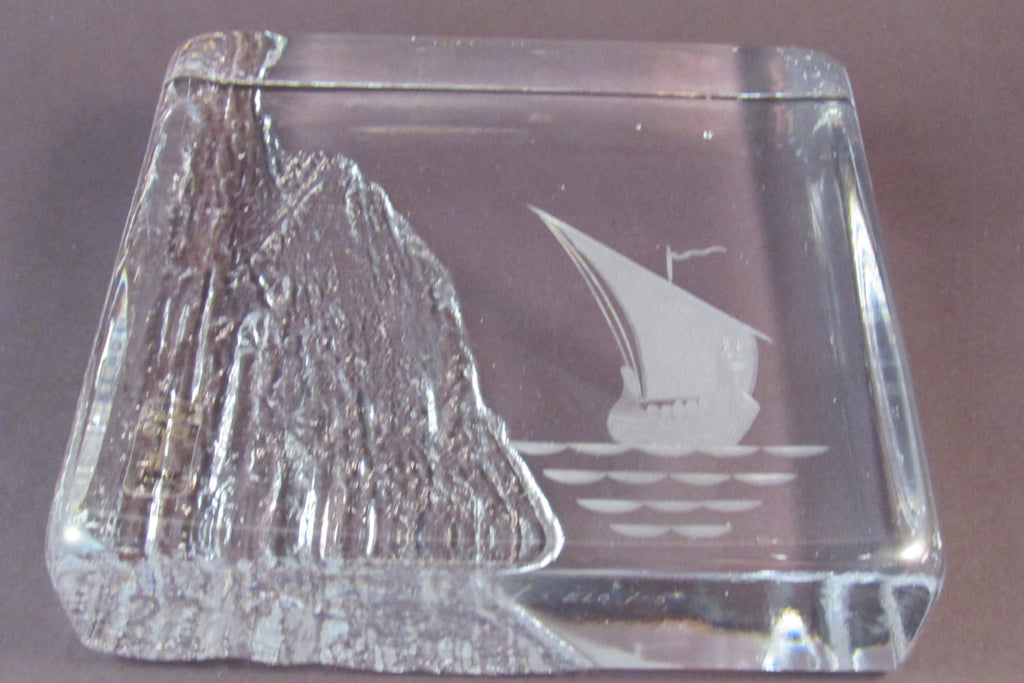 Vintage Bengt Edenfalk Skruf Glass Paperweight Signed Swedish Art Glass Viking Ship Paperweight