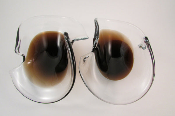 Vintage Murano Brown Glass Bowls Set of Two Made in Italy Italian Art Glass Bowls