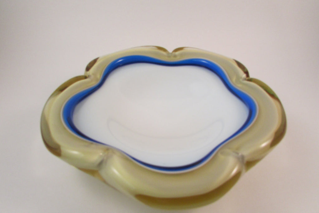 Vintage Murano Art Glass Flower Shaped Bowl Amber Blue and White Glass Bowl