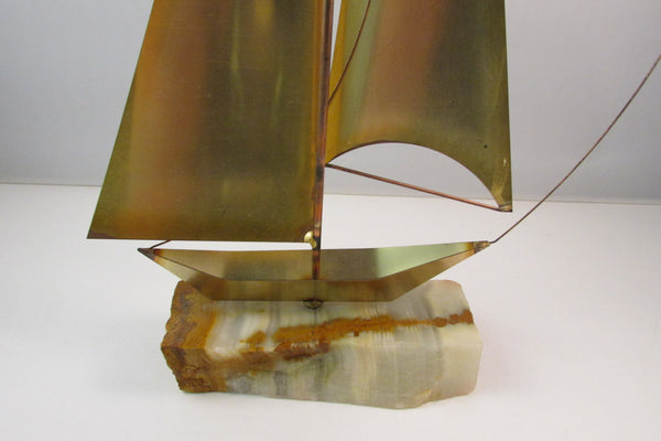 Vintage Metal Sailboat Sculpture On Quartz Base