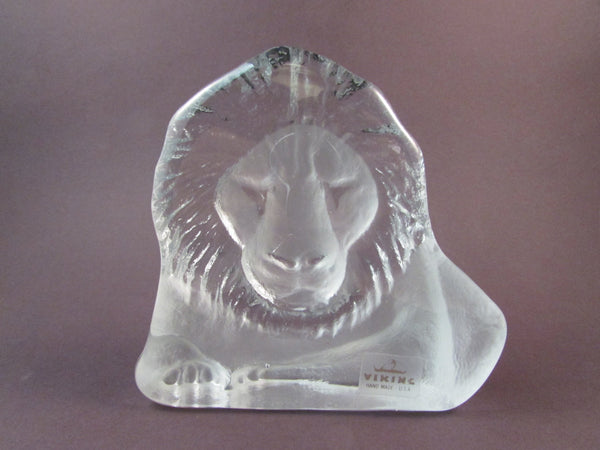 Vintage Viking Glass Lion Paperweight or Bookend with Original Sticker Frosted and Clear Glass