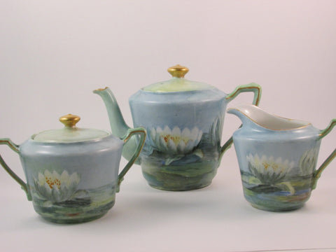 Antique KPM Tea Set Teapot Cream Pitcher and Sugar Bowl Hand Painted Lotus Flower Design