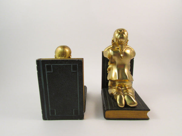 Vintage Ronson Bookends Asian Children 1920's Designed by Louis V. Aronson of Ronson Art Metal Works New York City Gift for Book Lover