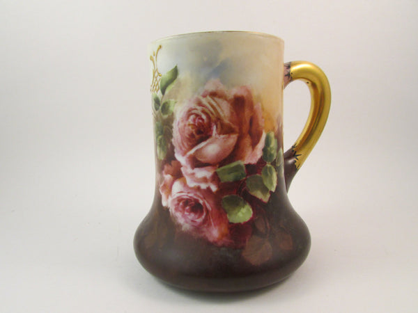 Vintage Limoges Porcelain Mug Hand Painted Roses Shades of Pink Antique Limoges Mug Made in France Early 1900s