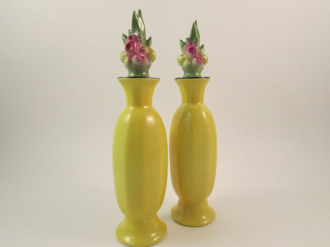 Vintage Perfume Bottle Art Deco Porcelain Floral Yellow Perfume Bottle with Dauber Set of Two Made in Bavaria