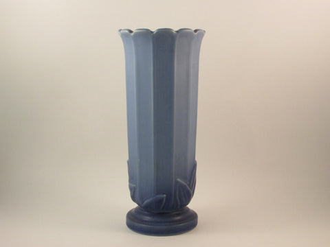 Vintage Weller Pottery Flower Vase Matte Blue with Leaf Detail Made in the USA