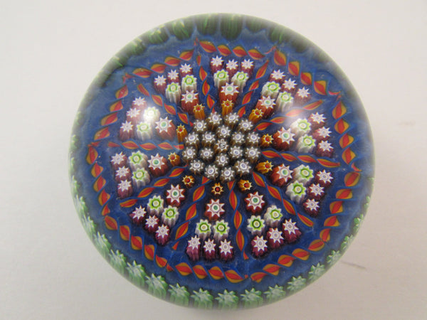 Vintage Perthshire Millefiori Glass Paperweight Crieff Scotland Blue Red Green White Canes Original Sticker and Signature P Cane