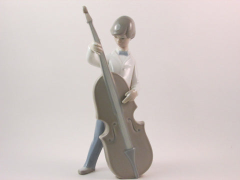 Vintage Lladro Porcelain Figurine Boy with Double Bass 4615 Issued 1970 Retired 1981 Designed and Sculpted by Juan Huerta