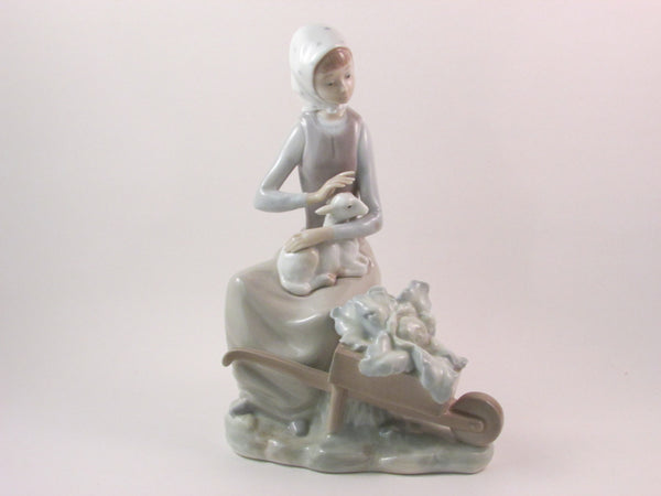 Vintage Lladro 4816 Girl with Wheelbarrow Porcelain Figurine Retired Lladro