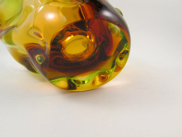 Vintage Bohemia Art Glass Basket Free Form Amber and Green Glass Made in Czechoslovakia