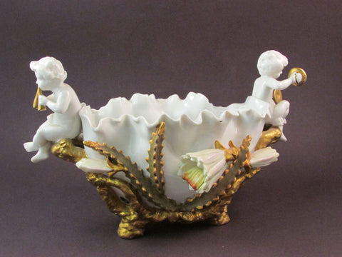 Vintage Andrea by Sadek Porcelain Footed Bowl Decorated with Cherubs Playing Instruments Cactus Flowers