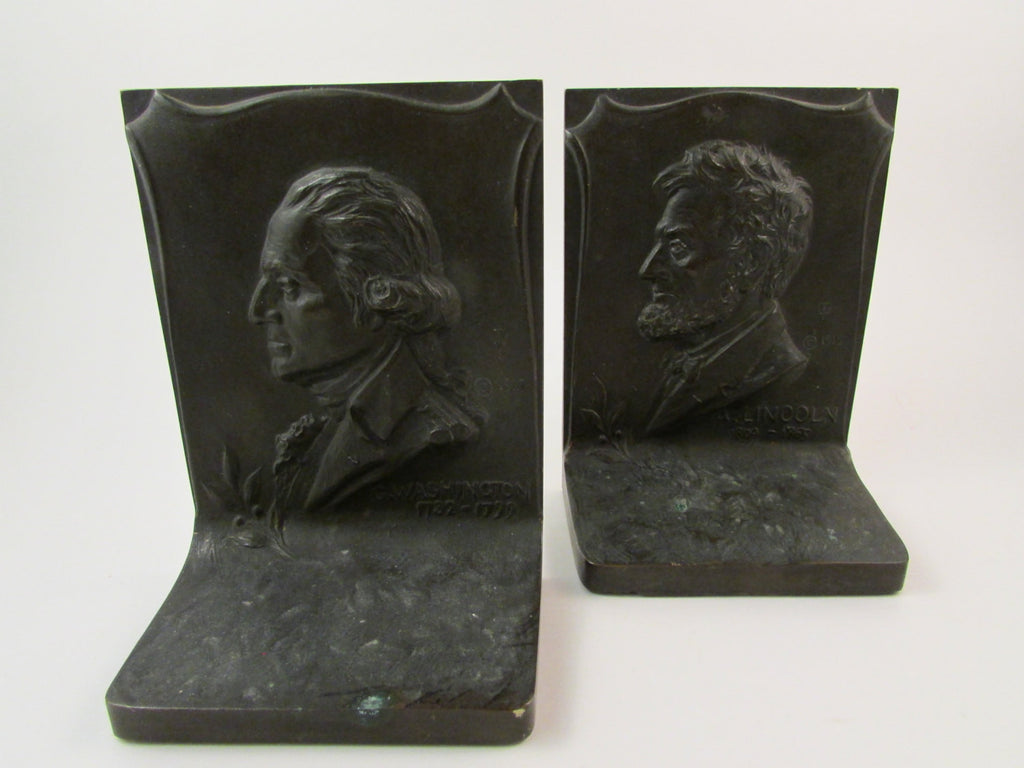 Vintage Solid Bronze Bookends by Griffoul George Washington and Abraham Lincoln 1915