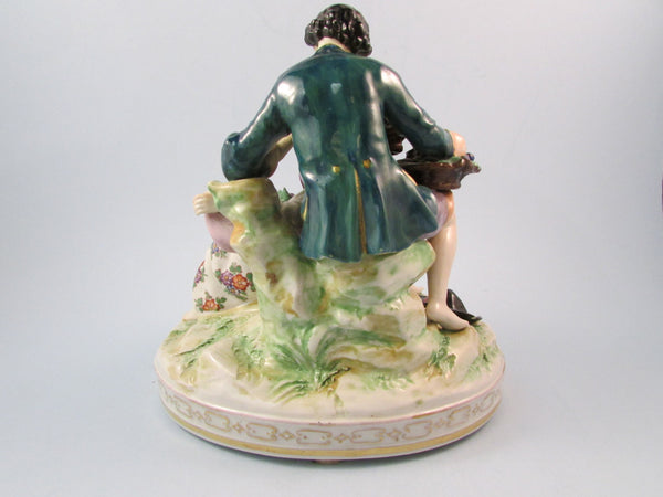 Vintage Volkstedt Porcelain Figurine Man and Woman Eating Grapes with Dog at Their Feet Volkstedt Dresden Germany