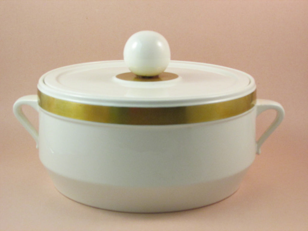 Vintage Ernest Sohn Lidded Casserole Dish White with Gold Band Made in USA