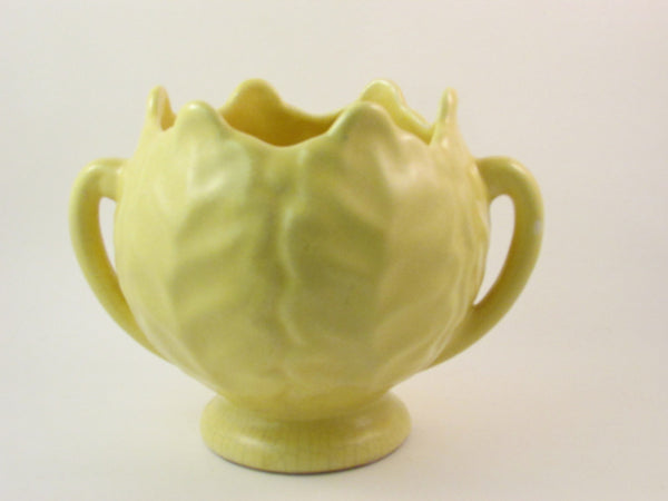 Vintage Yellow Planter Cool Cabbage Shape with Handles and Pedestal Base Cabbage Head Planter