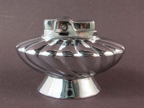 Vintage Ronson Regal Lighter Made in USA Chrome Swirl Design Table Lighter