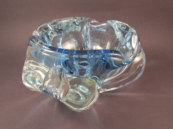 Vintage Murano Glass Clear Blue Art Glass Bowl Freeform Art Glass Bowl Italian Art Glass Translucent Blue Glass