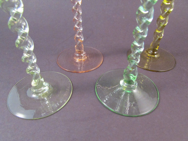 Vintage Stemmed Cordial Glasses Twisted Stems Aperitif Glasses Set of Four