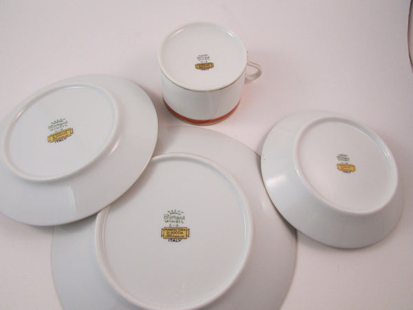 Vintage Richard Ginori Palermo Rust Red Salad Plate Flat Cup and Saucer and Fruit Dessert Bowl Set of Four Made in Italy
