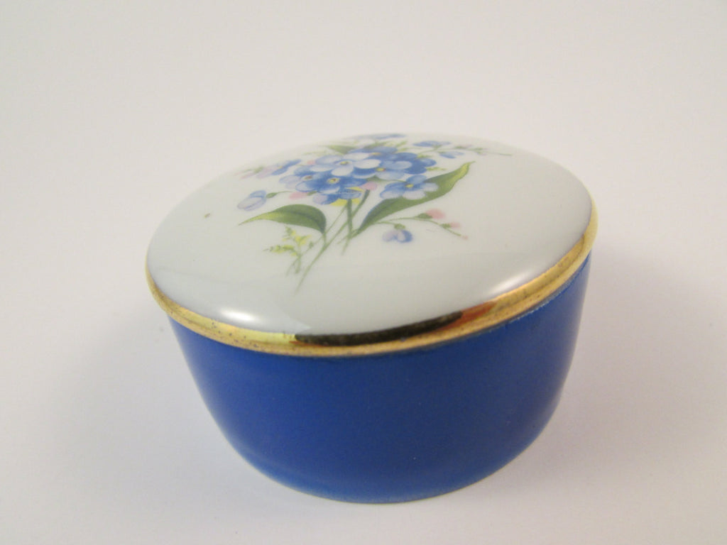 Vintage Chamart Limoges Pill Box Cobalt Blue and White with Forget Me Not Flowers Porcelain Box Made in France