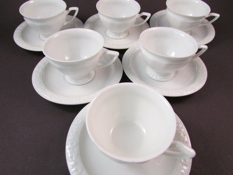 Vintage Rosenthal Demitasse Cup and Saucer White Porcelain Six Sets Made in Germany Rose Design Twelve Sided Cups