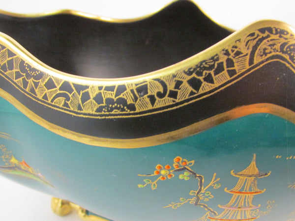 Vintage W&R Carlton Ware Bell Gondola Footed Bowl Wiltshaw and Robinson Oriental Design with Raised Patterns Heavily Gilded Pattern #716736