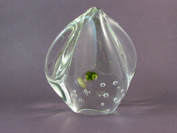 Vintage Glass Paperweight Czech Glass Bohemian Crystal Made in Czechoslovakia Clear with Green and Controlled Bubbles