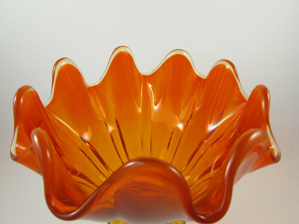 Vintage Viking Glass Handkerchief Pedestal Compote Amberina Orange Glass Comport Viking Epic Line Pedestal Bowl Candy Dish