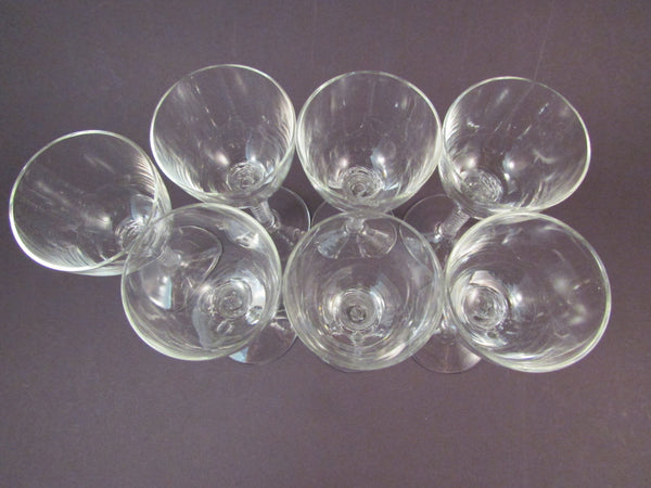 Vintage Stuart Ariel Crystal Twisted Stem Cordial Glasses Set of Seven Airtwist Stem Clear Bowl