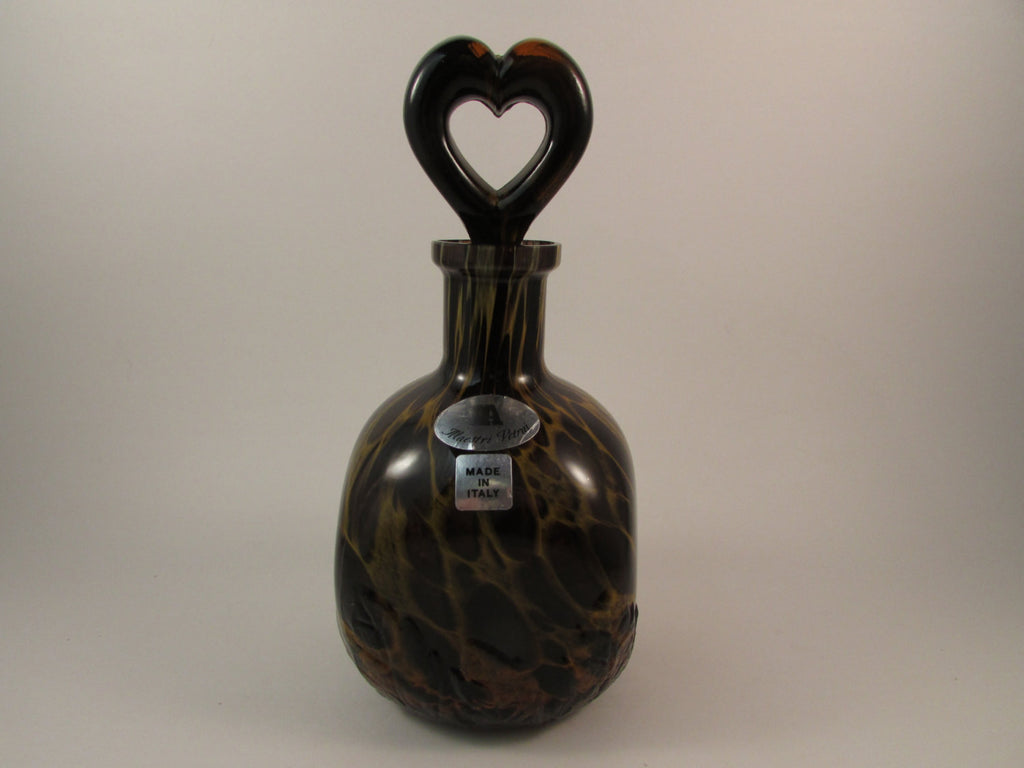Vintage Italian Glass Decanter Maestri Vetrai Glass Masters Made in Italy Heart Shaped Stopper Brown Glass with Leaf Design