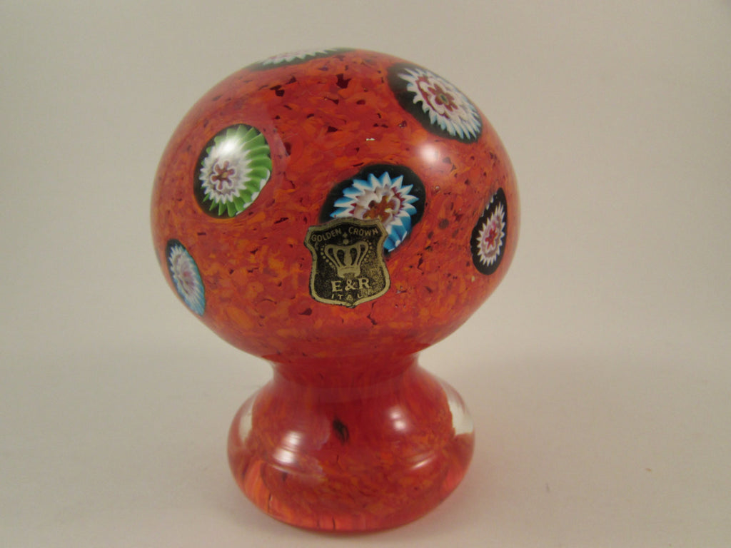 Vintage E & R Golden Crown Paperweight Orange Glass with Large Colorful Millefiori and Footed Base Made in Italy Italian Art Glass