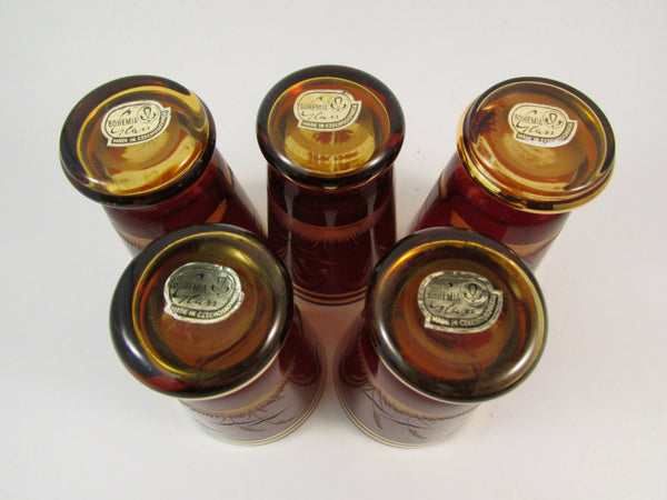 Vintage Czech Bohemian Footed Aperitif Footed Shot Glasses Amber Brown with Gold Trim Made in Czechoslovakia Set of Five Original Stickers