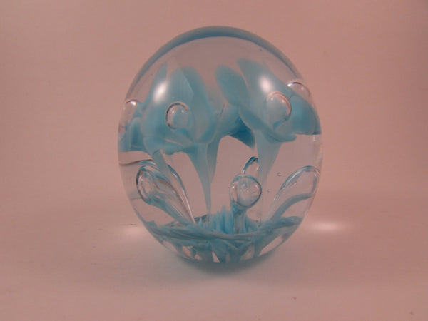 Vintage St Clair Paperweight Blue Ice Pick Trumpet Flowers with Controlled Bubbles