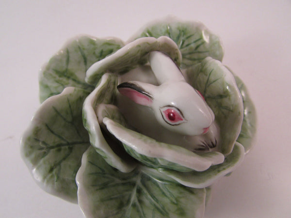 Vintage Nymphenburg Germany Hand Painted Porcelain Rabbit Hare Bunny in Green Cabbage Designed by Luise Terletzki-Scherf Western Germany