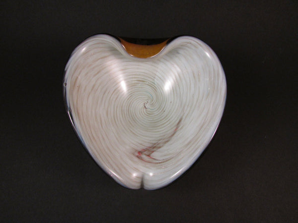 Vintage Murano Heart Shaped Art Glass Bowl Ivory Interior with Metallic Swirl Encased in Amber Glass Italian Art Glass