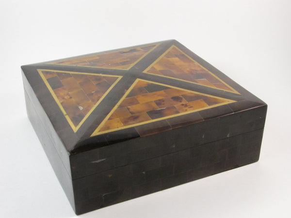 Vintage Maitland Smith Stone Tessellated  Box with Brass Accents Wood Interior Original Sticker Decorative Box Handmade in the Philippines