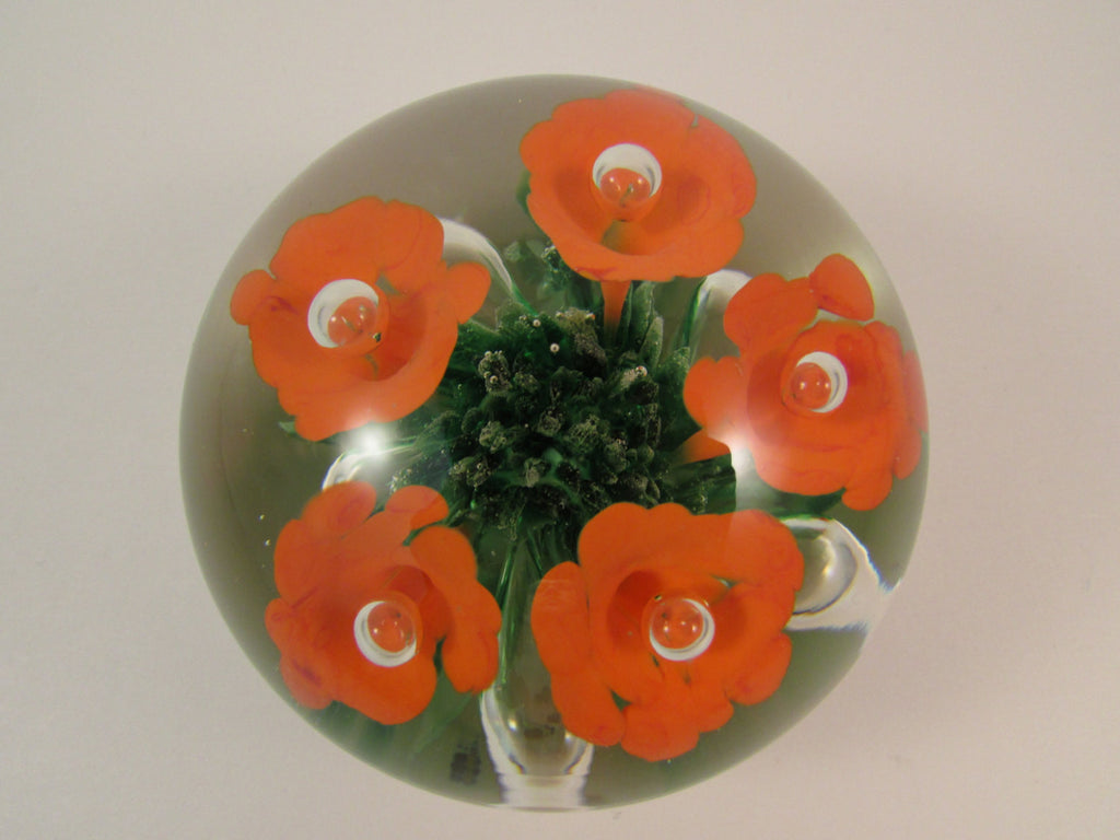 Vintage Maude and Bob St Clair Paperweight Orange Ice Pick Trumpet Flowers with Controlled Bubbles and Green Glass Bed 1974