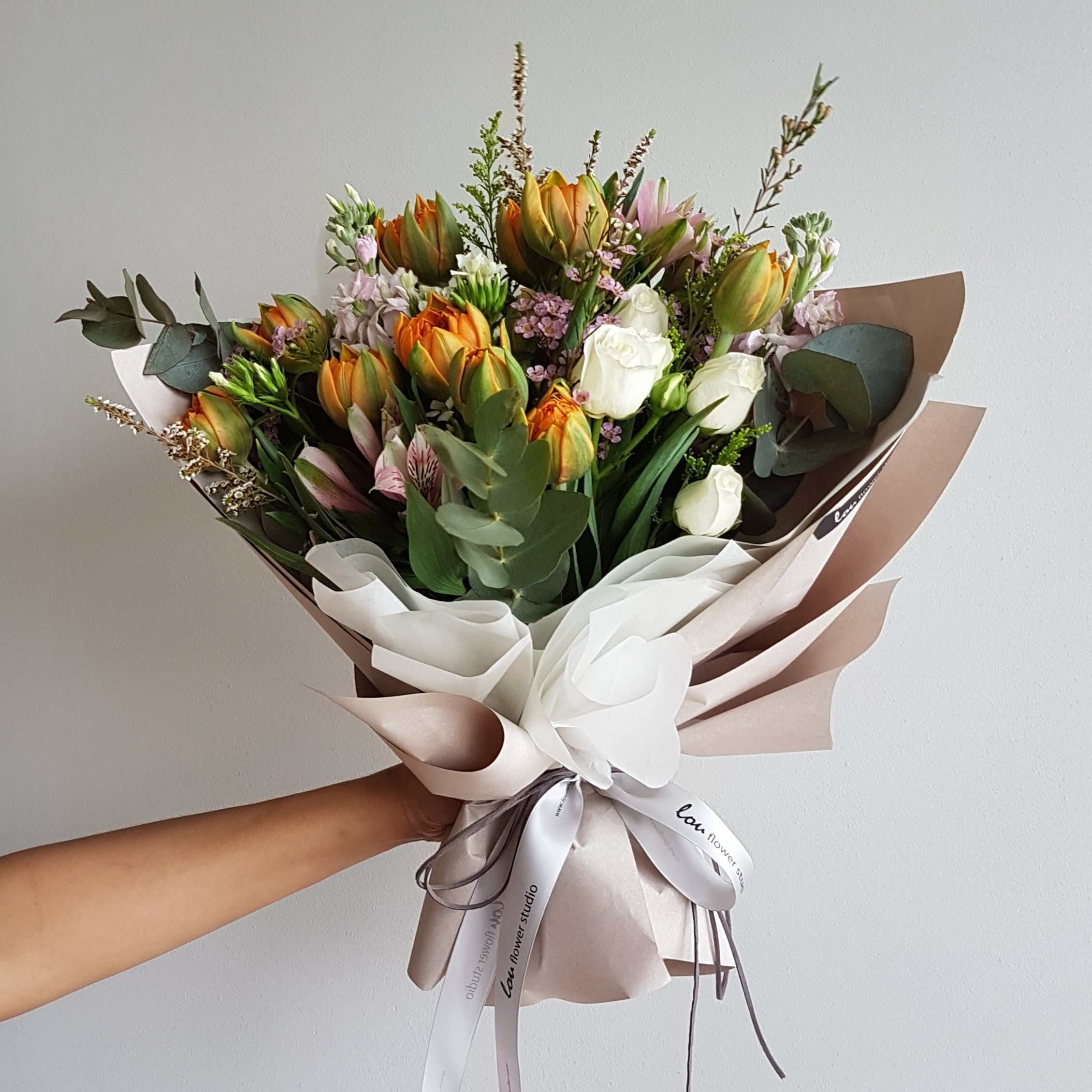 Tulips bouquet lou flower studio free delivery tulip bouquet upsized with premium filler flowers and foilages free delivery izmirmasajfo