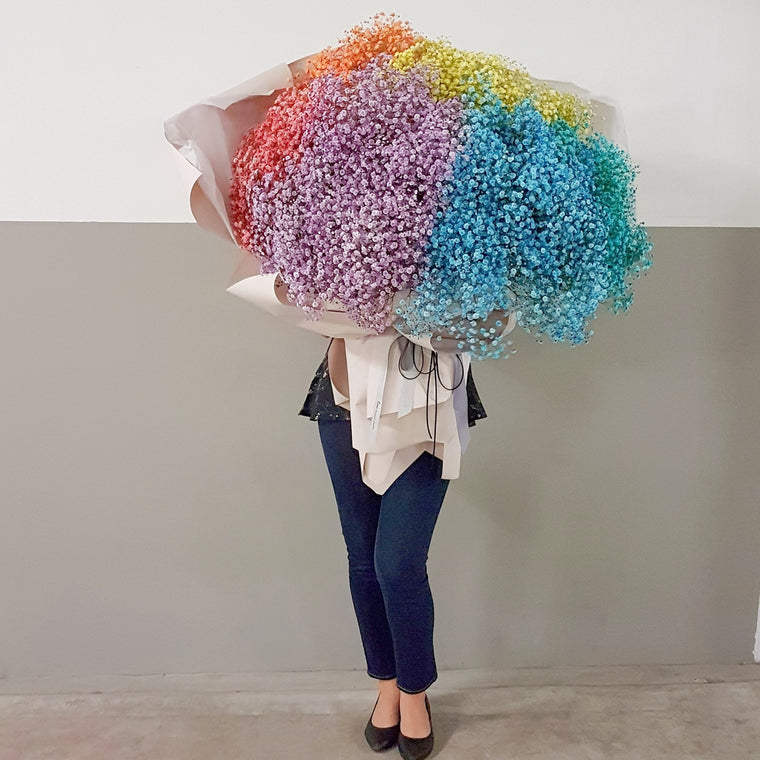 Rainbow baby's breath bouquet - Lou Flower Studio
