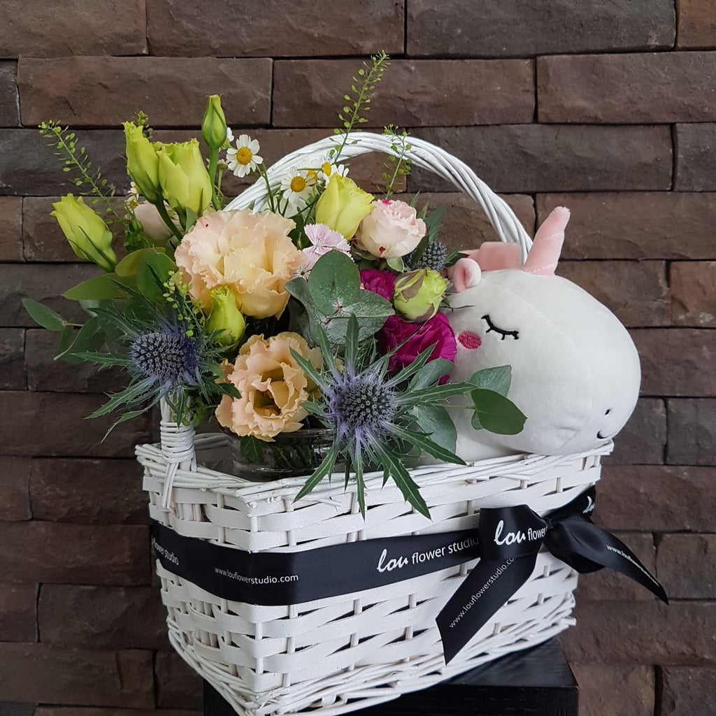 Unicorn in a Basket - Lou Flower Studio