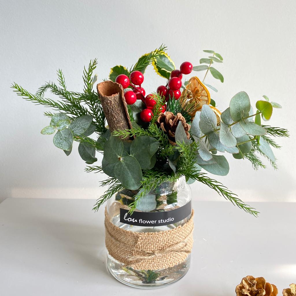 Christmas Petite Posy in a Jar